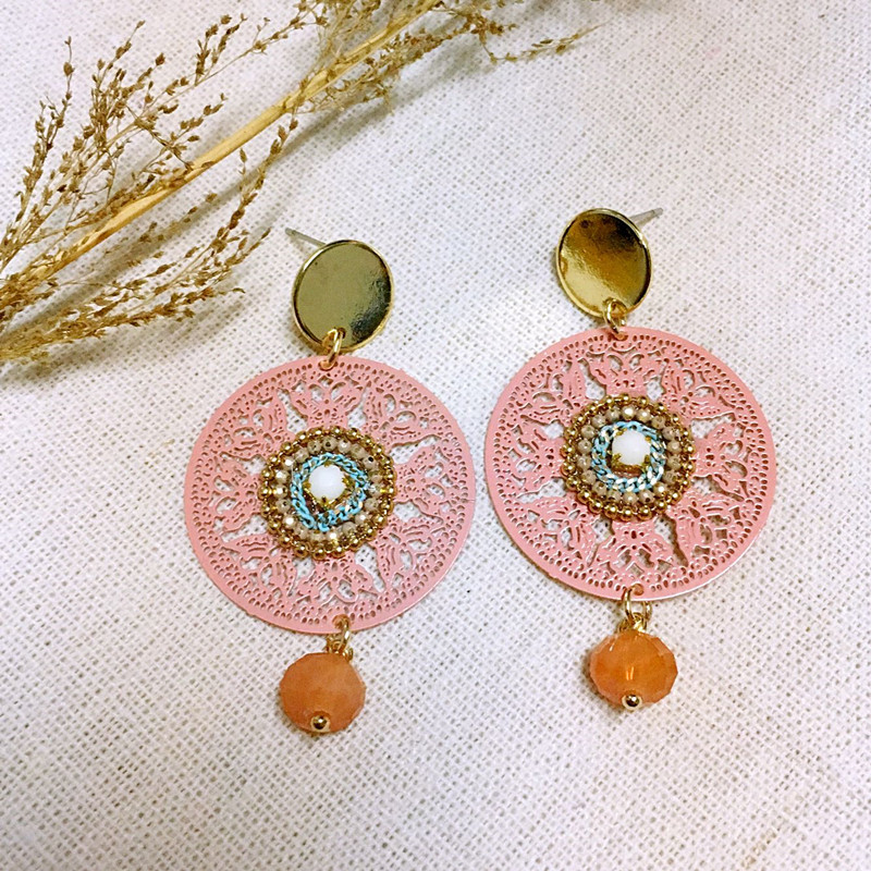 Dongmu Jewellery New Handmade Round Crystal Copper Drop Earrings 2017 National Trendy Style Fashion Gift For Valentine's Day