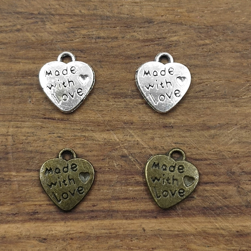 Bronze Tibetan Silver Letters Round Charms Beads DIY Crafts Accessory T1