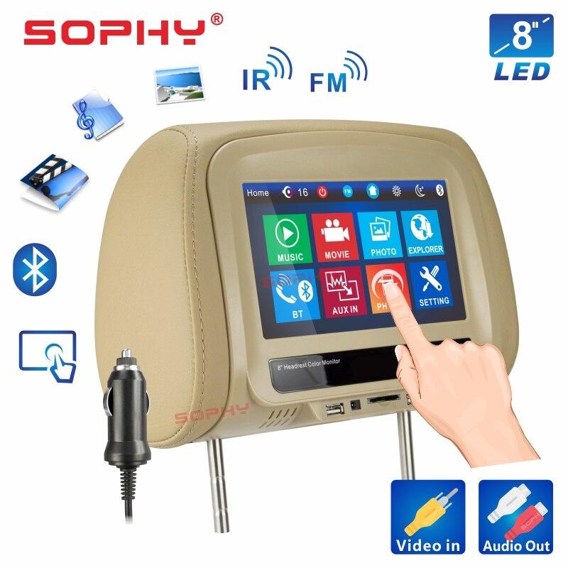 Новинка! 8 дюймов автомобильный подголовник монитор MP4/MP5 видео плеер подушка монитор с ик FM сенсорный экран телефон зарядка SH8068-P5 - Цвет: 8068MP5-Beige