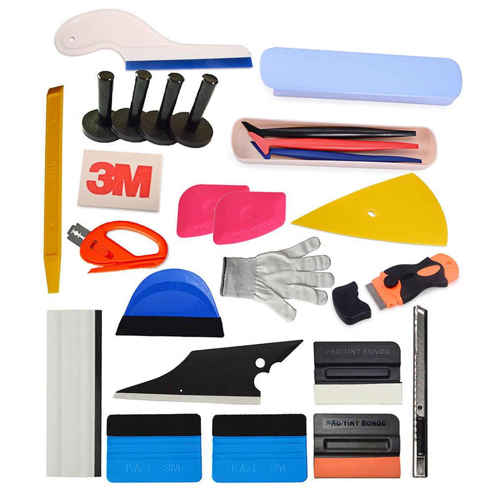 цена на EHDIS 24pcs Carbon Vinyl Film Car Wrap Tool Set Window Tint 3M Wrapping Squeegee Magnet Holder Knife Motorcycle Car Accessories