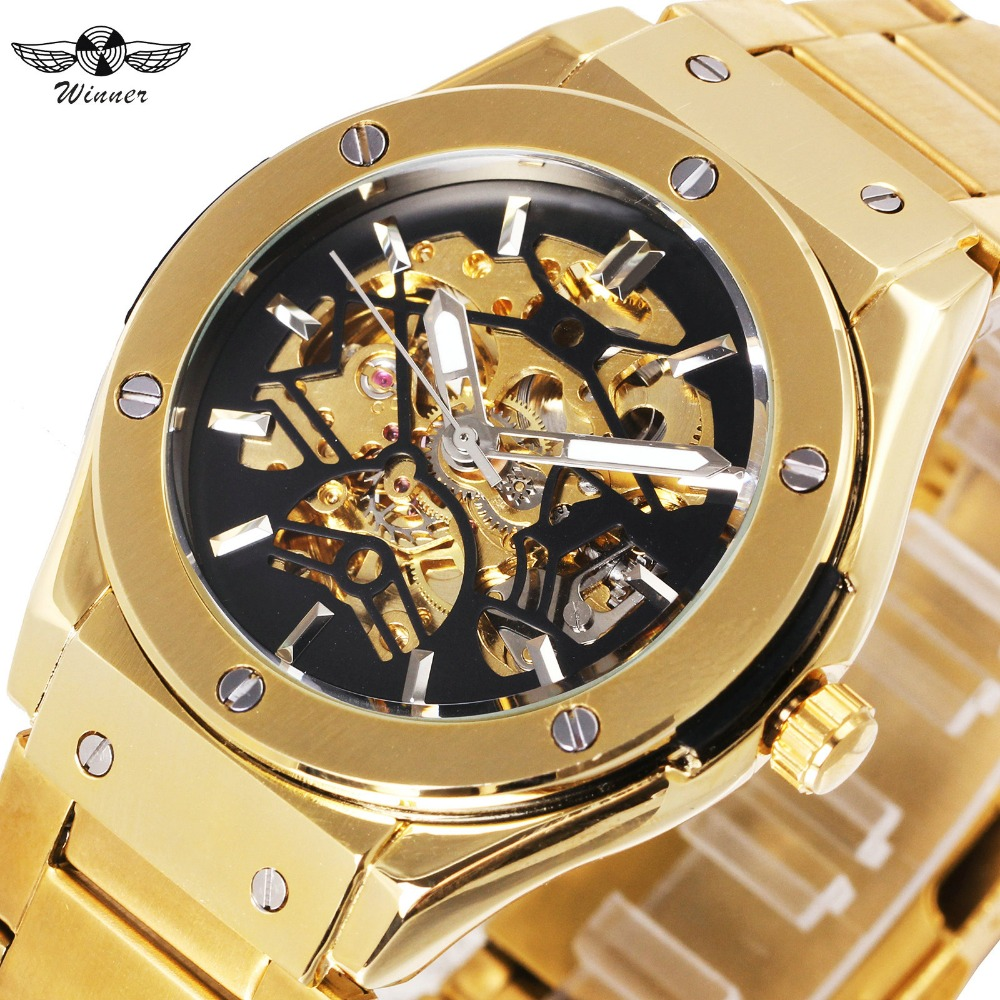 WINNER Luxry Men Auto Mechanical Watch Stainless Steel Strap Bolt Black Bird Skeleton Dial FORSINING Wristwatch New Year Gift winner men fashion black auto mechanical watch leather strap skeleton dial square shape round case unique design cool wristwatch