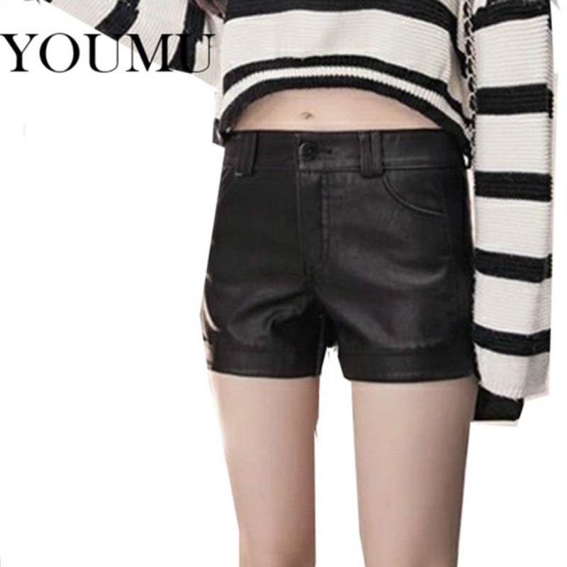 Women PU Faux Leather Shorts High Waist Black Sexy Clubwear Underpants Spring Casual Streetwear Hotpants Fashion New 903-A554