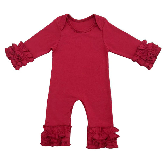 0fea2c955bc9 Newborn Jumpsuit Baby Girl Winter Romper Top Quality Cotton Infant Clothing  Triple Ruffle Baby Onesie
