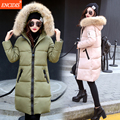 Hot sale Winter coat women 2016 New Lady Long coats and Jacket Fashion Female Heigh quality Fur collar Hooded Parka clothes M90