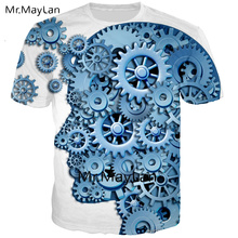 Cool Design 3D Print Mechanical Geer Brain T-shirt Men/women Creative Crewneck Tee T Shirt Tops Boy Juvenil Clothes Big Size 6XL