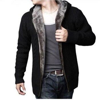 Sweter Masculino 2017 nowy zima gruby, ciepły sweter mężczyzn swetry wełniane wysokiej jakości męska bluza z kapturem luźny styl na co dzień XXXL