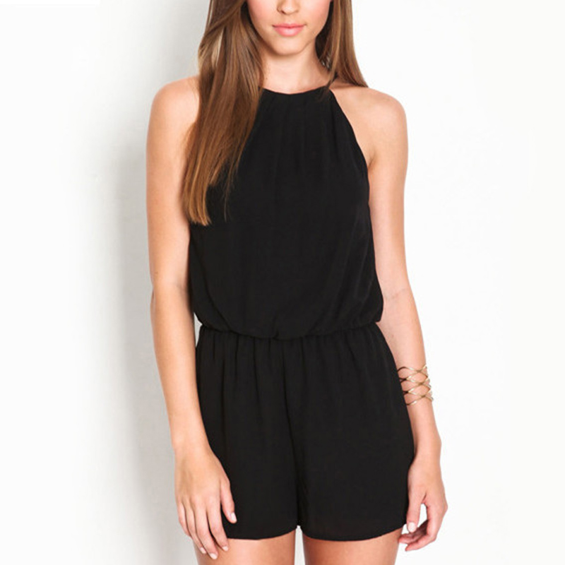 Fashion Women Halter Jumpsuits Sleeveless Chiffon Overalls Keyhole Back Casual Pure Black Girls Playsuit Rompers Sexy Summer