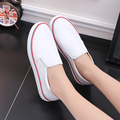 JARLIF 2017 New Autumn Summer Solid Color Low PU Leather White Casual Brand Women Flat Shoes Breathable Fashion Slip on Shoe