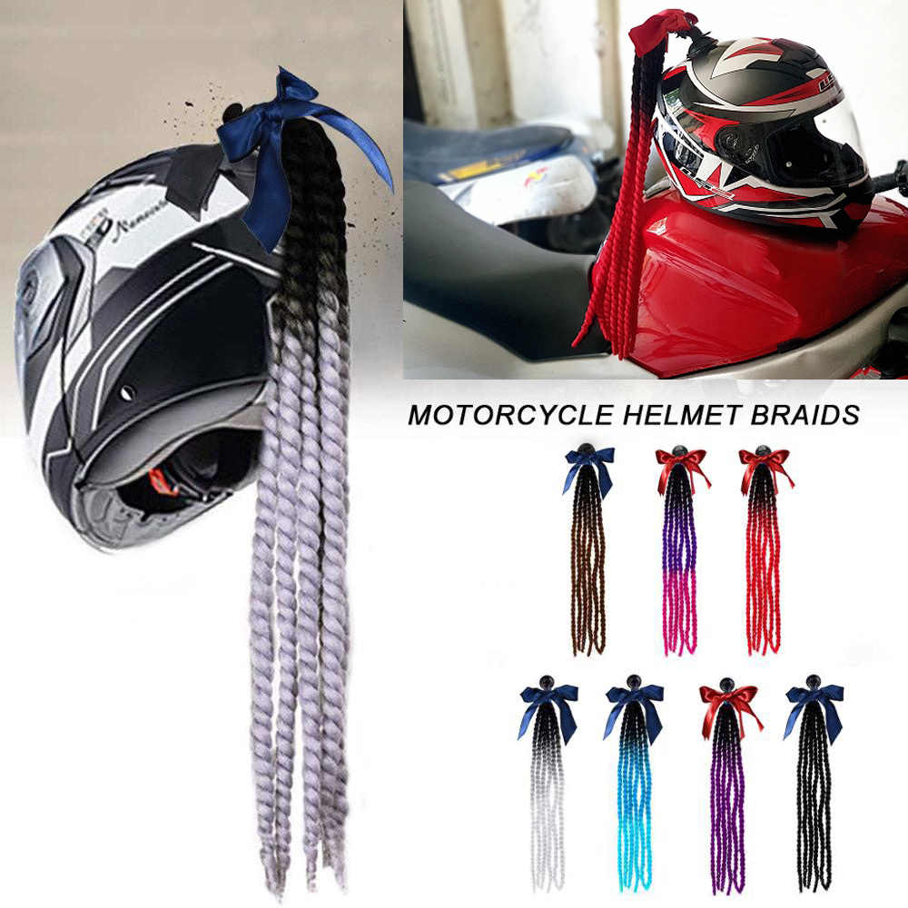 Punk Style Motorcycle Scattered Gradient Ramp Helmet Braids Twist Braid Horn Motocross Motorbike Off Road Moto Decoration Braids