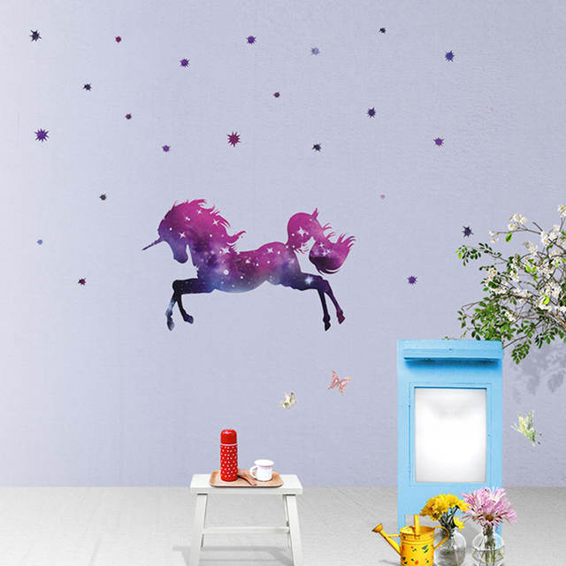 Online Shop Cartoon Galaxy Unicorns Star Wall Stickers Wallpaper Diy