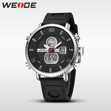 Weide 2017 new fashion automatic watch leather men luxury sport shockproof waterproof digital LCD alarm clock mens belt