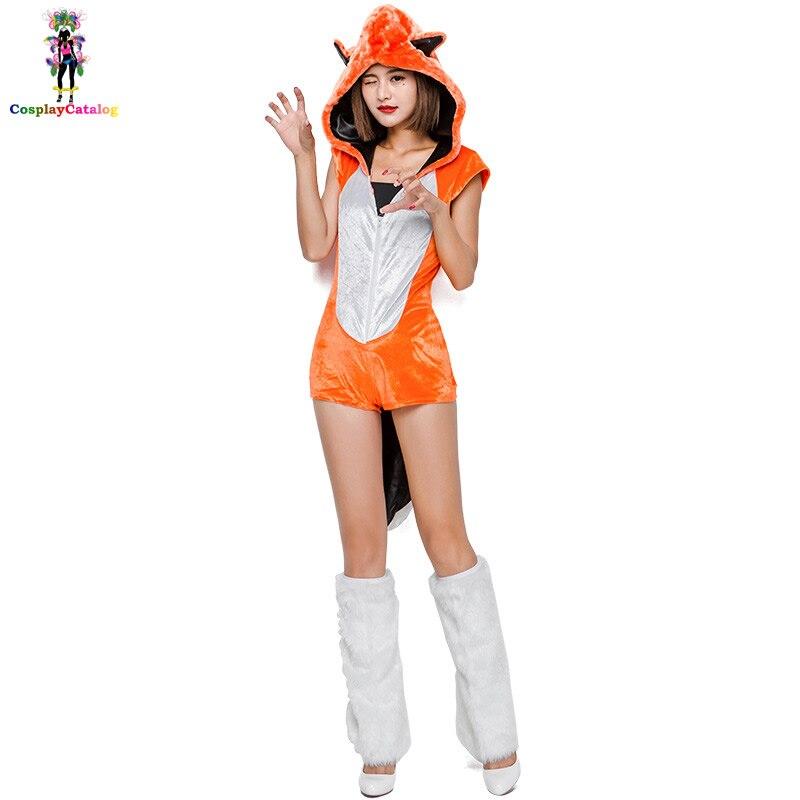 Женский костюм со шляпой для костюмированной вечеринки с оранжевым лисьим животным на Хэллоуин, милые женские вечерние костюмы для взрослых