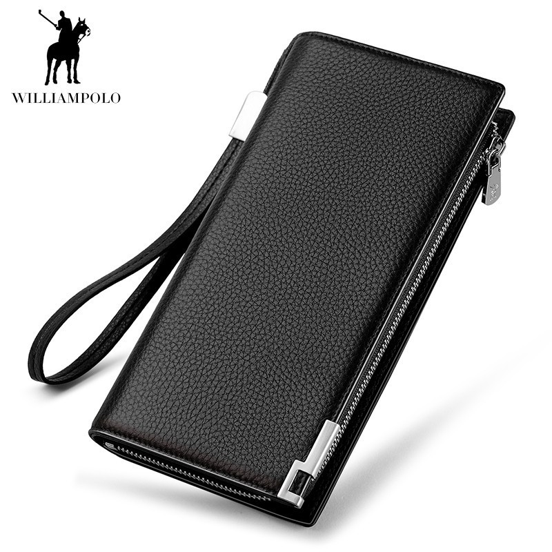 WILLIAMPOLO Genuine Leather Card Holder Wallet Men Clutch Hand Strap Long Purse 24 Card Pocket Businessman Style POLO171325 williampolo men s clutch wallet handy strap clutch bag genuine leather long wallet card holder 2018 fashion plaid purse for men