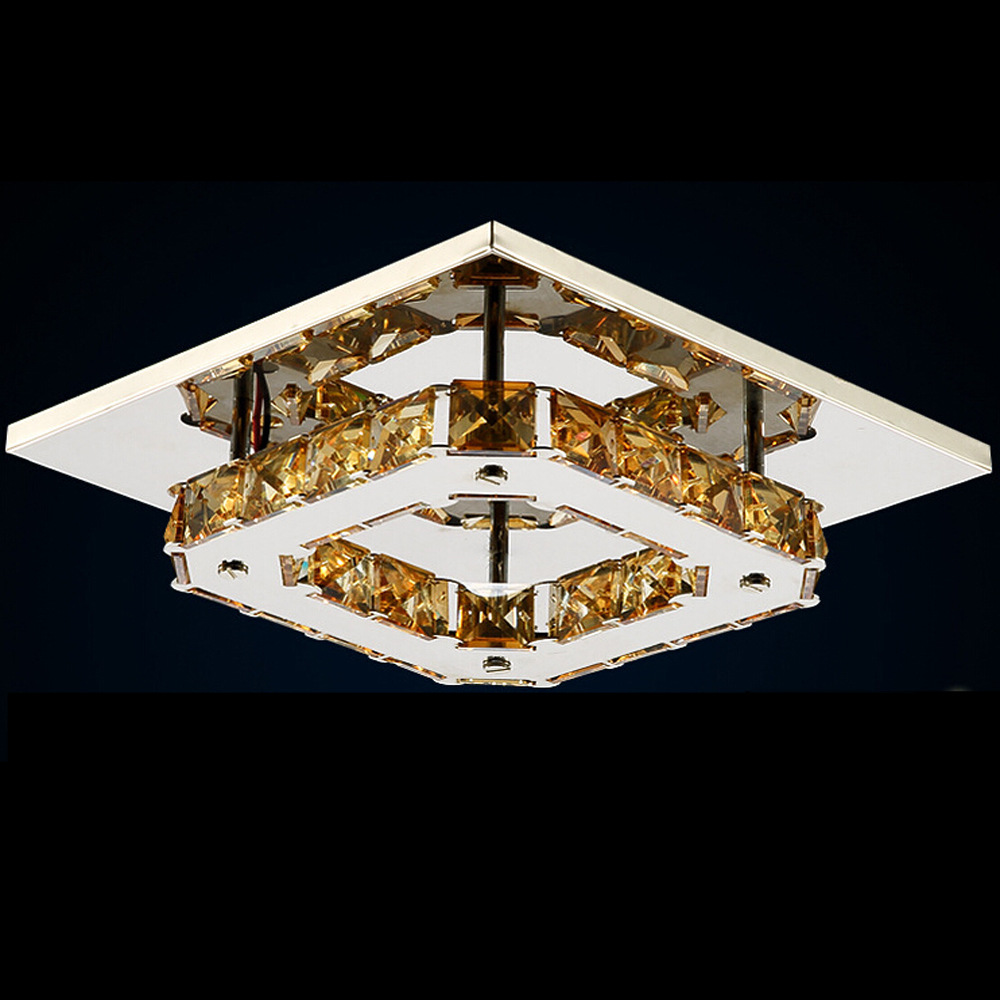 ФОТО Modern Fashion Creative Clear/amber K9 Crystal Square Led 12w Ceiling Light For Living Room Aisle Entrance Corridor 2244