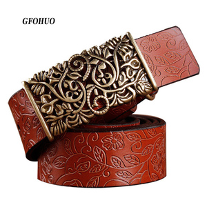 Image 1 - New ceinture female belt hand real leather women strap needle buckle casual style luxury female casual women belts