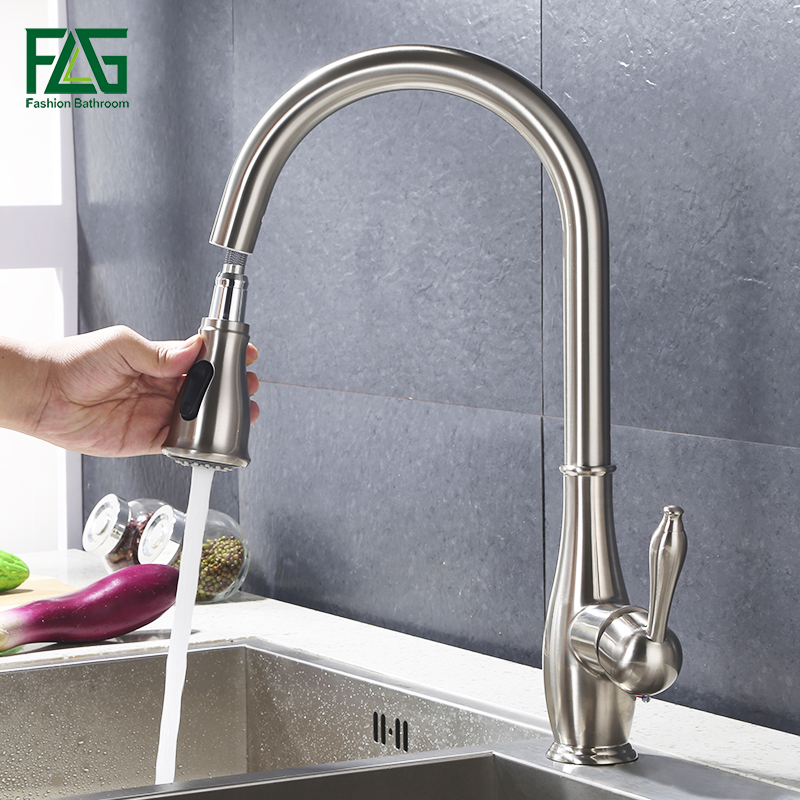 Kitchen Faucet Brass Brushed Nickel Kitchen Sink Faucet Pull Out 360 Rotation faucet for kitchen tap mixer torneira para cozinha newly arrived pull out kitchen faucet gold chrome nickel black sink mixer tap 360 degree rotation kitchen mixer taps kitchen tap