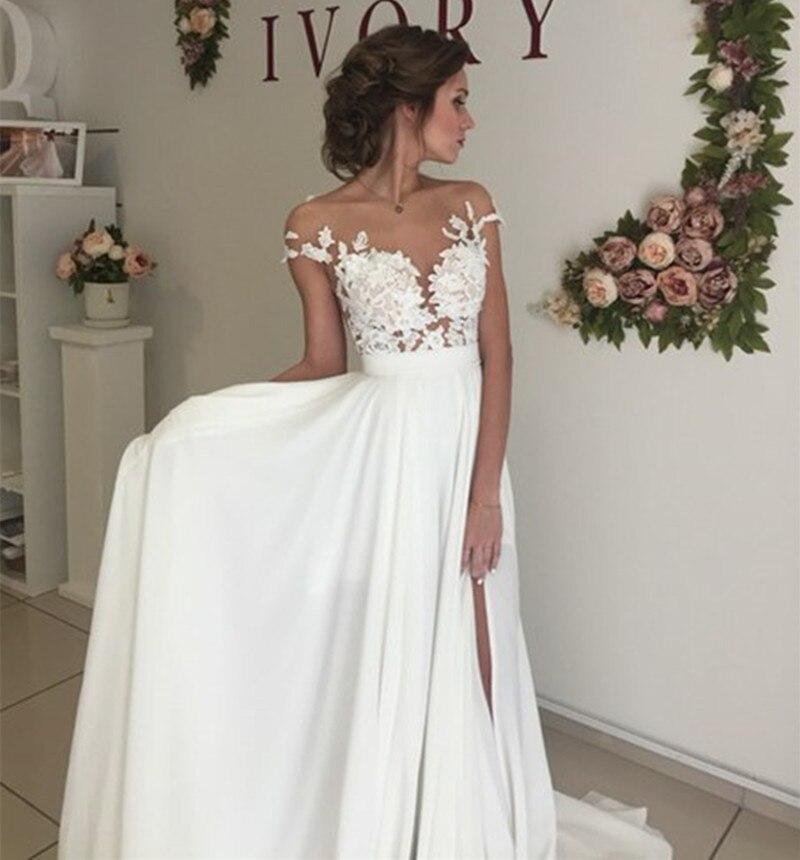 75531c8d9ece Vintage Chiffon Beach Wedding Dress Summer White Cap Sleeves V Neckline  Fitted Split Boho Wedding Dress 2019 Robe De Mariage-in Wedding Dresses  from ...