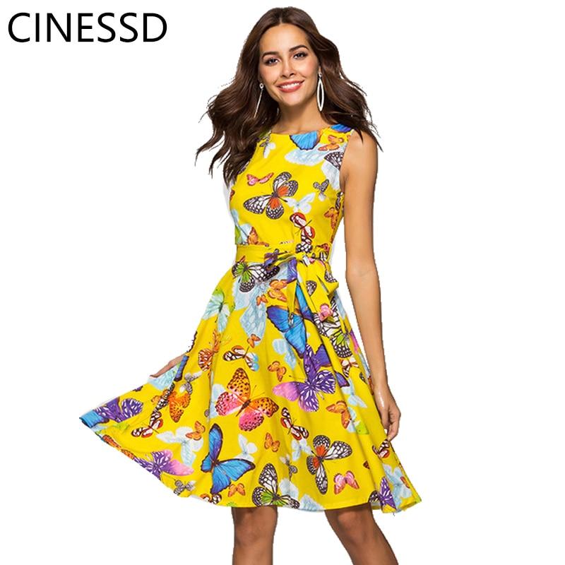 CINESSD Summer 2019 stitching zipper flower butterfly print A word waist sexy round neck temperament commuter dress