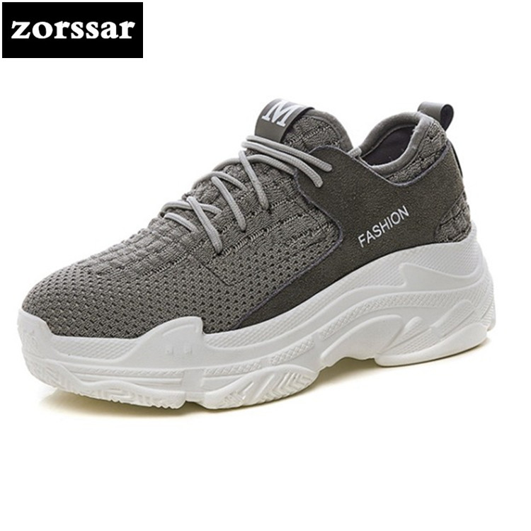 {Zorssar} Brand 2018 Fashion Spring Autumn Casual sport shoes Women Sneakers Breathable Casual Flat Shoes Woman Dad Shoes spring autumn casual men s shoes fashion breathable white shoes men flat youth trendy sneakers