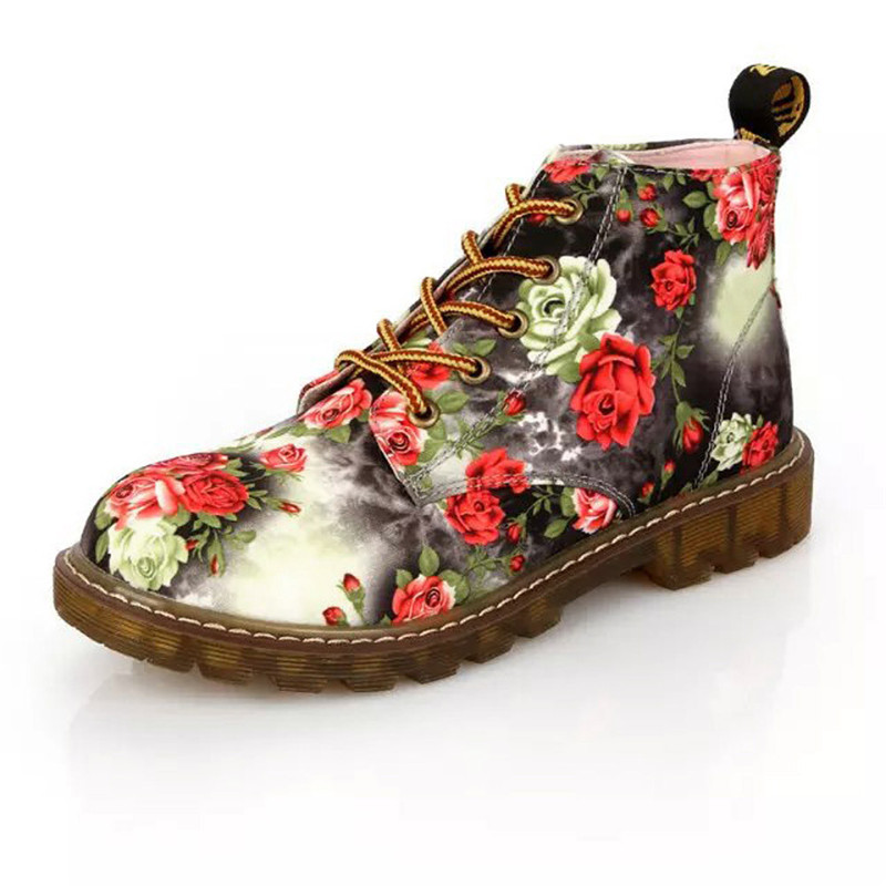 Ladies Vintage Floral Street Fashion Womens Suede locomotive Ankle Trim Flat Female Ankle Warm Denim Martin Boots Lace Up Shoes front lace up casual ankle boots autumn vintage brown new booties flat genuine leather suede shoes round toe fall female fashion