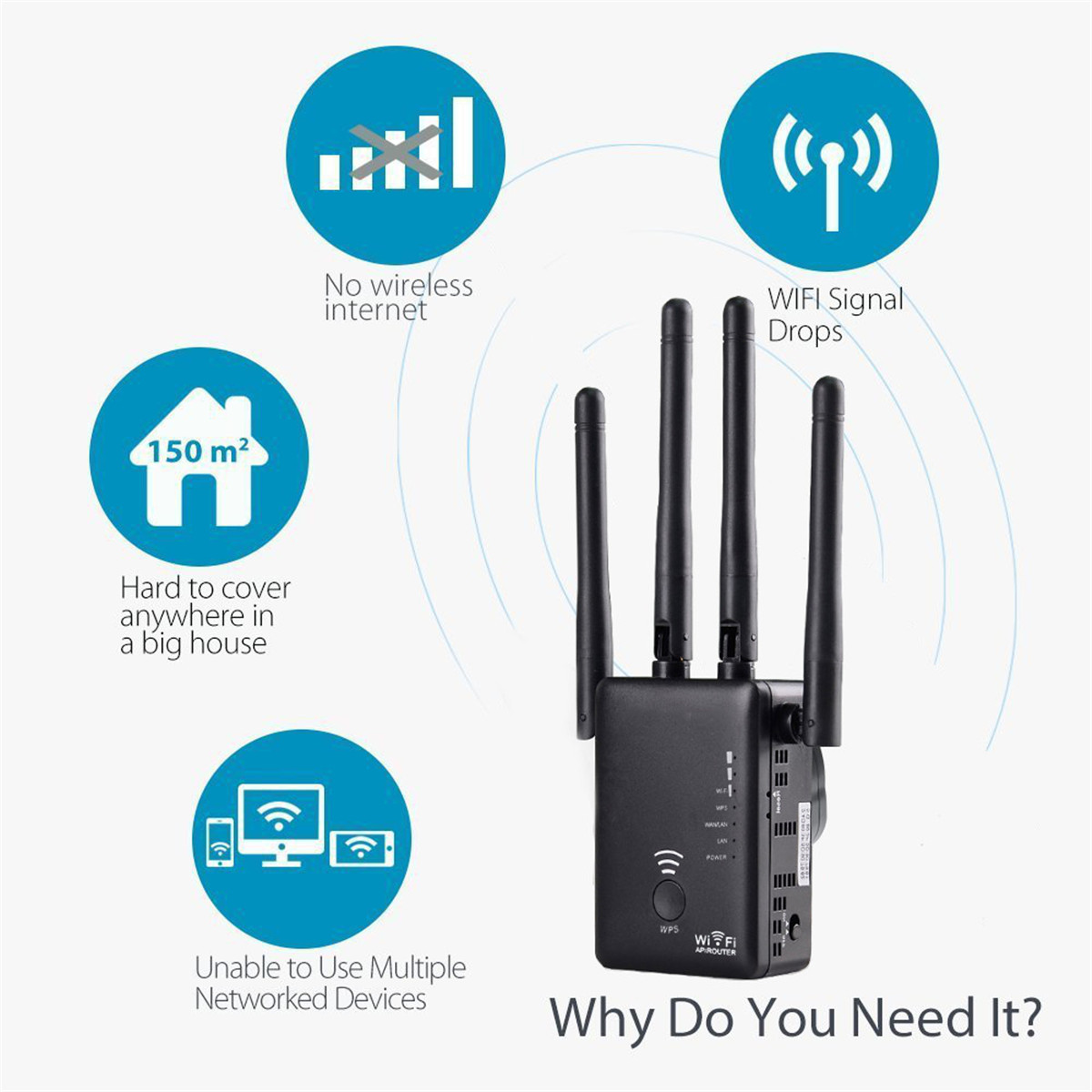 Wavlink AC1200 Dual for Band 1200Mbps 4x3dBi External Antenna Wireless WIFI  Repeater Wifi Extender Amplificador APP Control