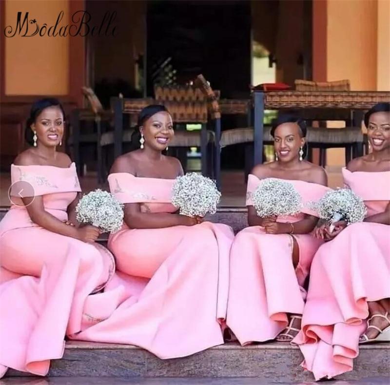Modabelle African Pink Plus Size   Bridesmaid     Dresses   Satin Sexy Side Split Mermaid Lace Appliques robes de demoiselle d'honneur