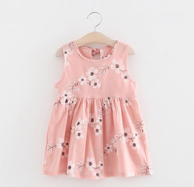 2018 New Summer Baby Girls Dress O-Neck Embroidery Floral Sleeveless Vest Dress Lovely Toddler Clothing Children Tutu Dresses