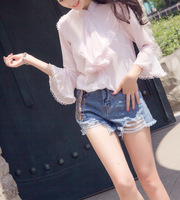 Ky Q Spring Elegant Ruffles White Pink Chiffon Blouses Tops Women Long Sleeve Single Breasted Thin