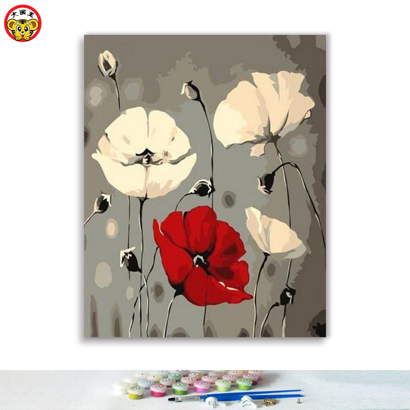 Diy Oil Painting By Numbers Art Paint By Number  Flower  Poppy And Chrysanthemum Illustration Bedroom Parlor Decoration Painting
