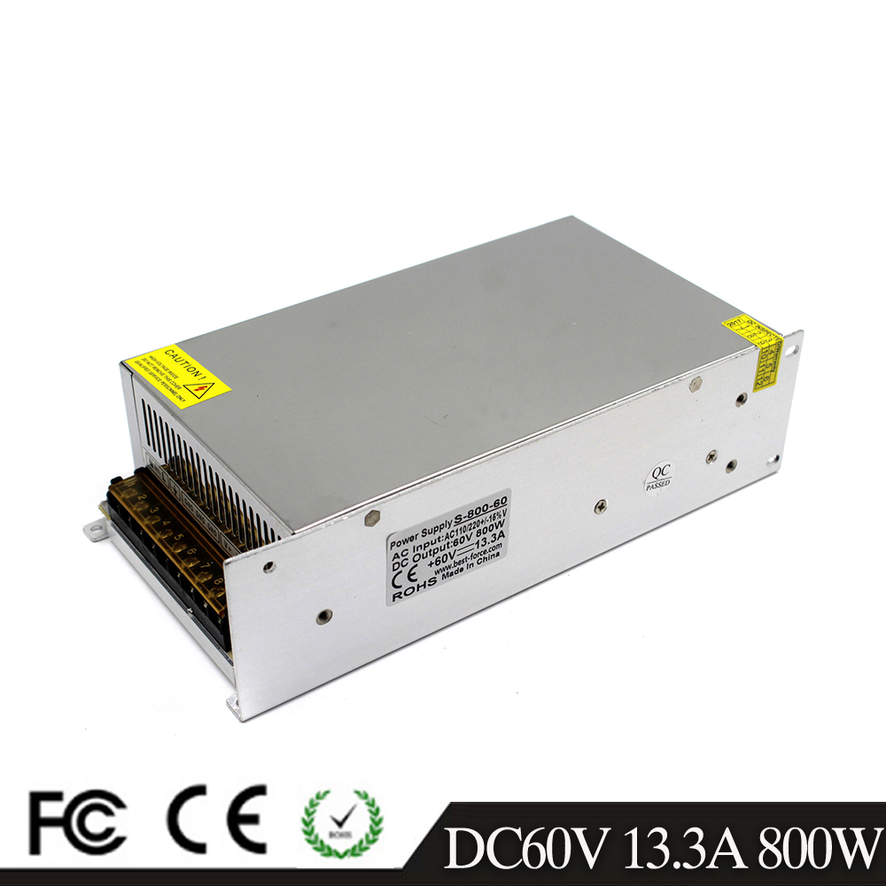 AC DC 60V 13 3A 800W Power Supply Adapter AC110V 220V Transformer DC60V Led Driver SMPS
