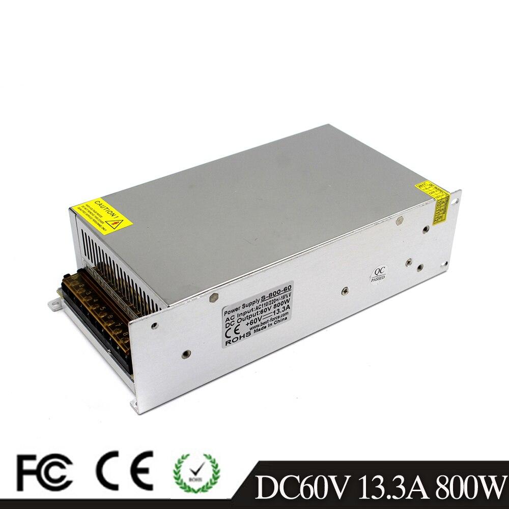 AC DC 60V 13 3A 800W Power Supply Adapter AC110V 220V Transformer DC60V Led Driver SMPS