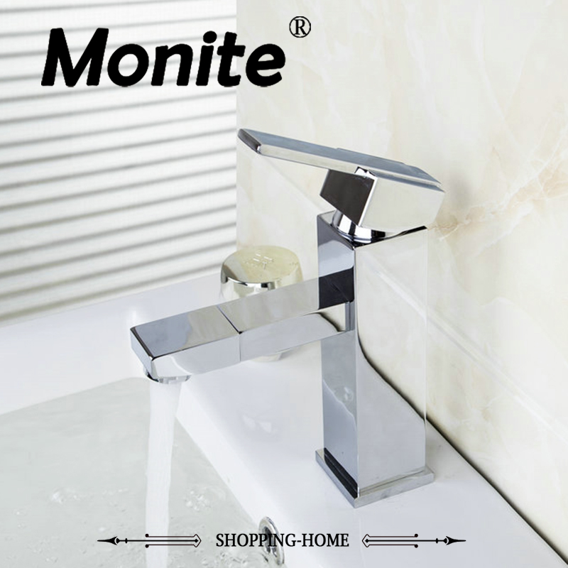 MONITE Basin Faucet Torneira Retro Spout Swivel Deck Mounted Single Handle Chrome 8706 Bathroom Basin Faucets,Mixers & Taps brand new deck mounted chrome single handle bathroom