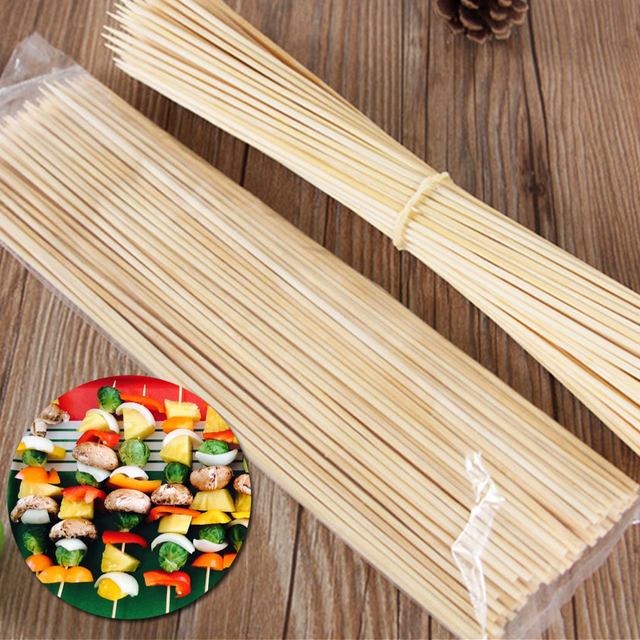 Us 351 49 Off500pcspack 30cm X 3mm Bamboo Skewers Grill Wood Sticks Outdoor Barbecue Meat Food Fruit Bbq Party Skewer Barbecue Utensil Tool In