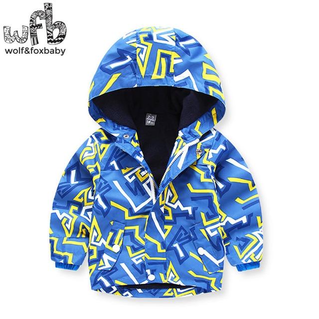 Retail 3-10 years children coats Plus velvet thickening Windproof geometric kids spring autumn fall winter