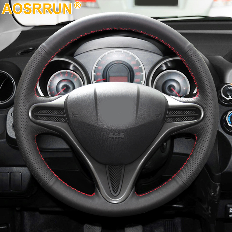 Car Accessories Leather Hand-stitched Car Steering Wheel Cover For Honda Fit Jazz City 2009-2013 Insight 2010-2014 2011 2012