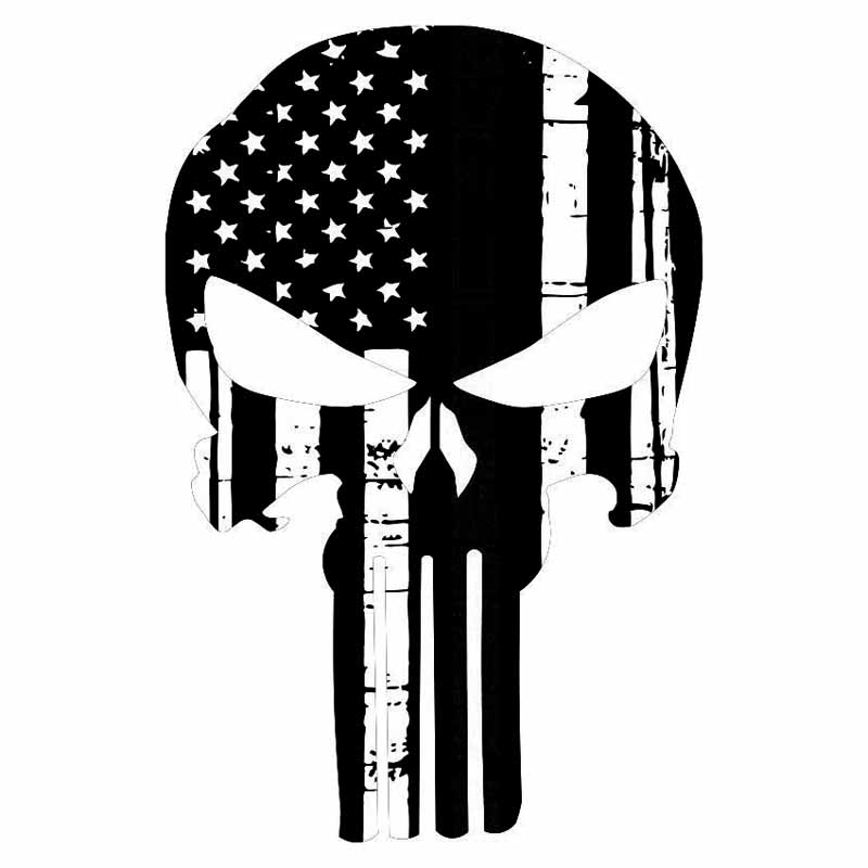 11.6*17.7CM Personality Punisher Skull American Flag Car Stickers Covering The Body Of Fashion Vinyl Decals C7-1471