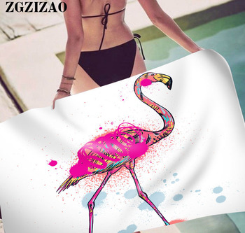 ZGZIZAO Quick Drying Beach Towel Flamingo Print Microfiber Women Bath Towel Professional Roll Blanket Gym Travel Sauna Swim Mat