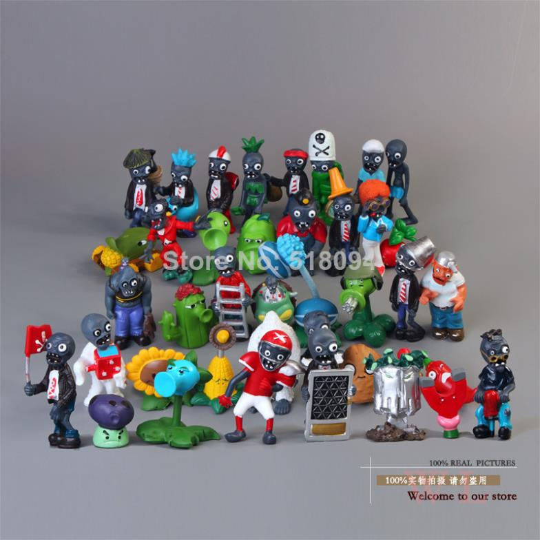 40pcs/set Plants Vs Zombies 2.5-6.5cm PVC Action Figures PVZ Collection Figures Toys Gifts Plant + Zombies Free Shipping