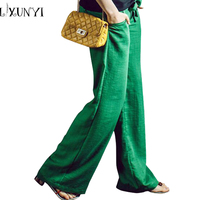 LXUNYI Women Wide leg linen pants Solid Summer Solft Casual Trouser Female 2019 Belted linen Trousers White Green Pink Gray