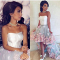 Fashion Off the Shoulder Two Tones Strapless Sleeveless Flowers Short Front Long Back Prom Dresses