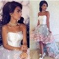 Moda del Hombro de Dos Tonos de Flores Sin Mangas Sin Tirantes Trasero Largo Delantero Corto Vestidos de Baile