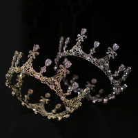 Beautiful Princess Crowns Full Round Head Tiara Gold Hair Accessories Jewelry Luxury Zircon Crystal Tiaras Wedding Bridal Diadem