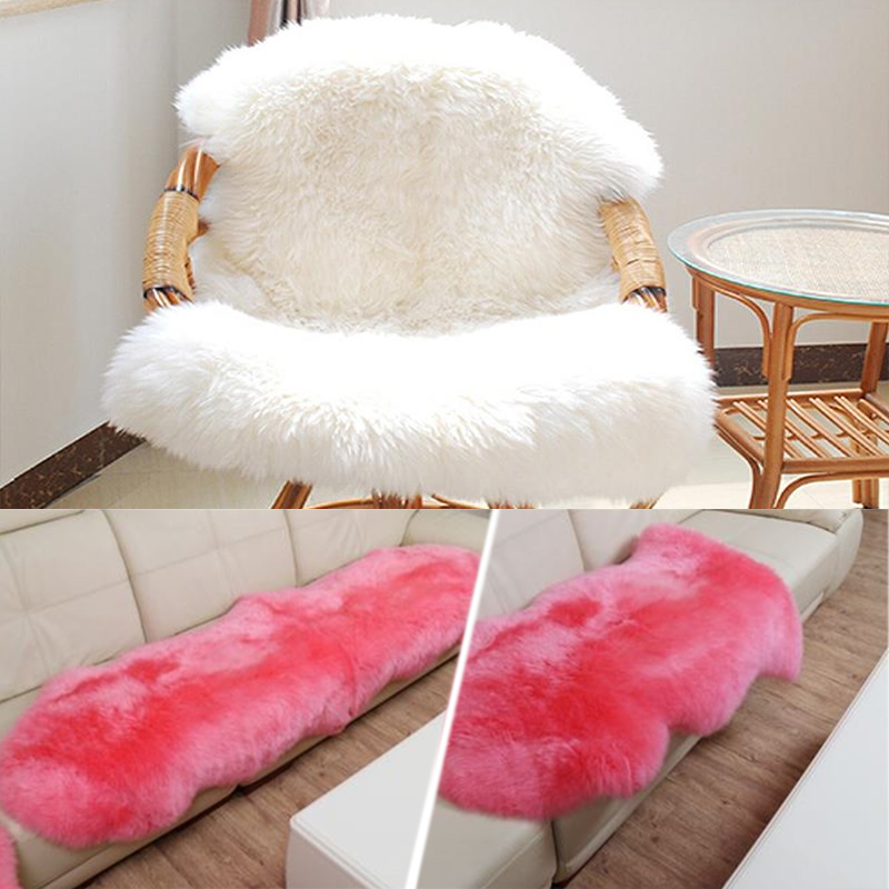 Washable Fluffy Wool 2-in-1 Chair Seat Carpet Pad Plain Rug Mat Bedroom ...