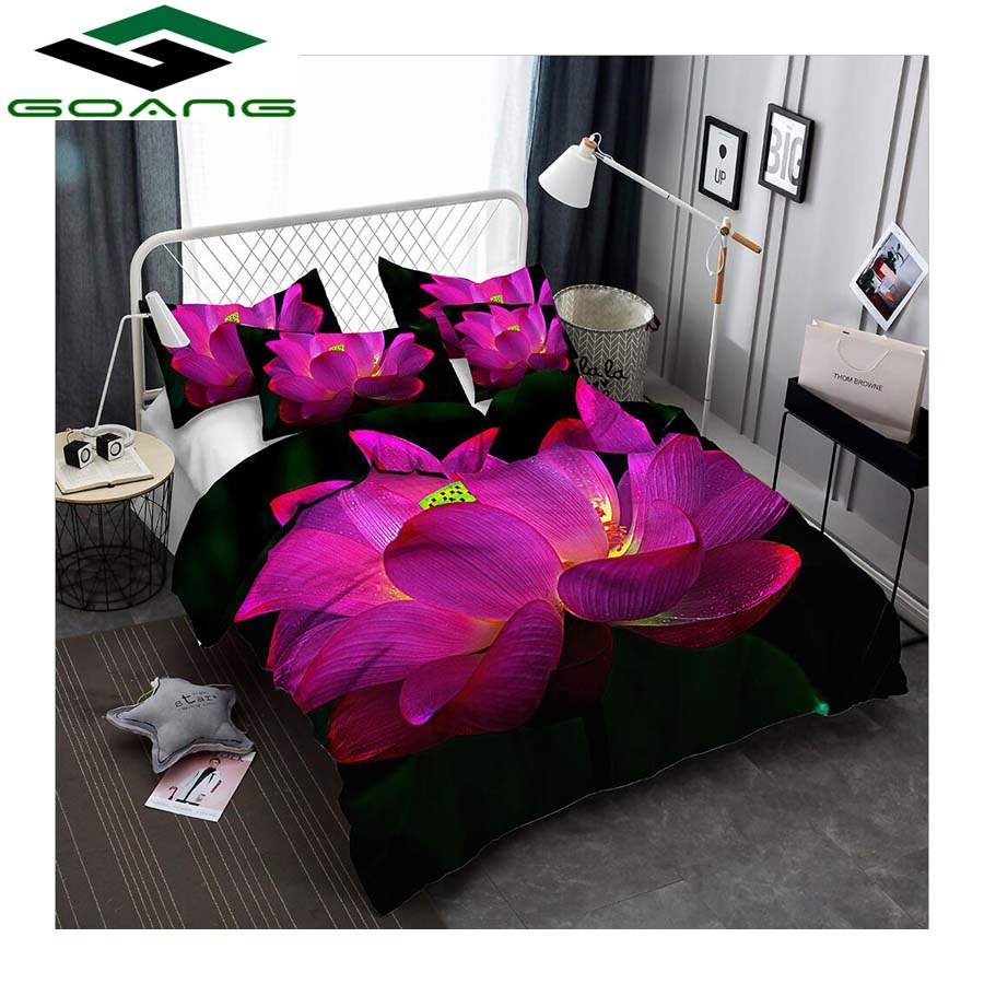GOANG Wholesale Bedding Sets Bed Sheet Duvet Cover Pillow Case California King Bedding Sets 3d Digital Printing Pink Lotus
