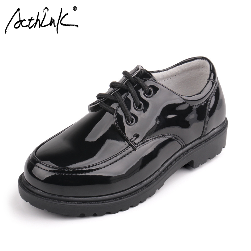 ActhInK New Boys Formal Leather Wedding Shoes England Style Kids Performance Shoes Gentle School Boys Patent Leather Dress Shoes