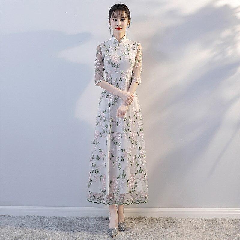 Nouveau femmes dentelle Sexy Vintage Aodai Cheongsam nouveauté Style chinois Mandarin col robe dames Slim haute fentes Qipao S-XXL