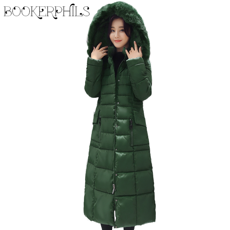 X-Long Thicken Woman Jacket Winter   Parka   Hooded 2018 Autumn Fur Collar Female Coats Plus Size Solid Color Warm Cotton Outwear