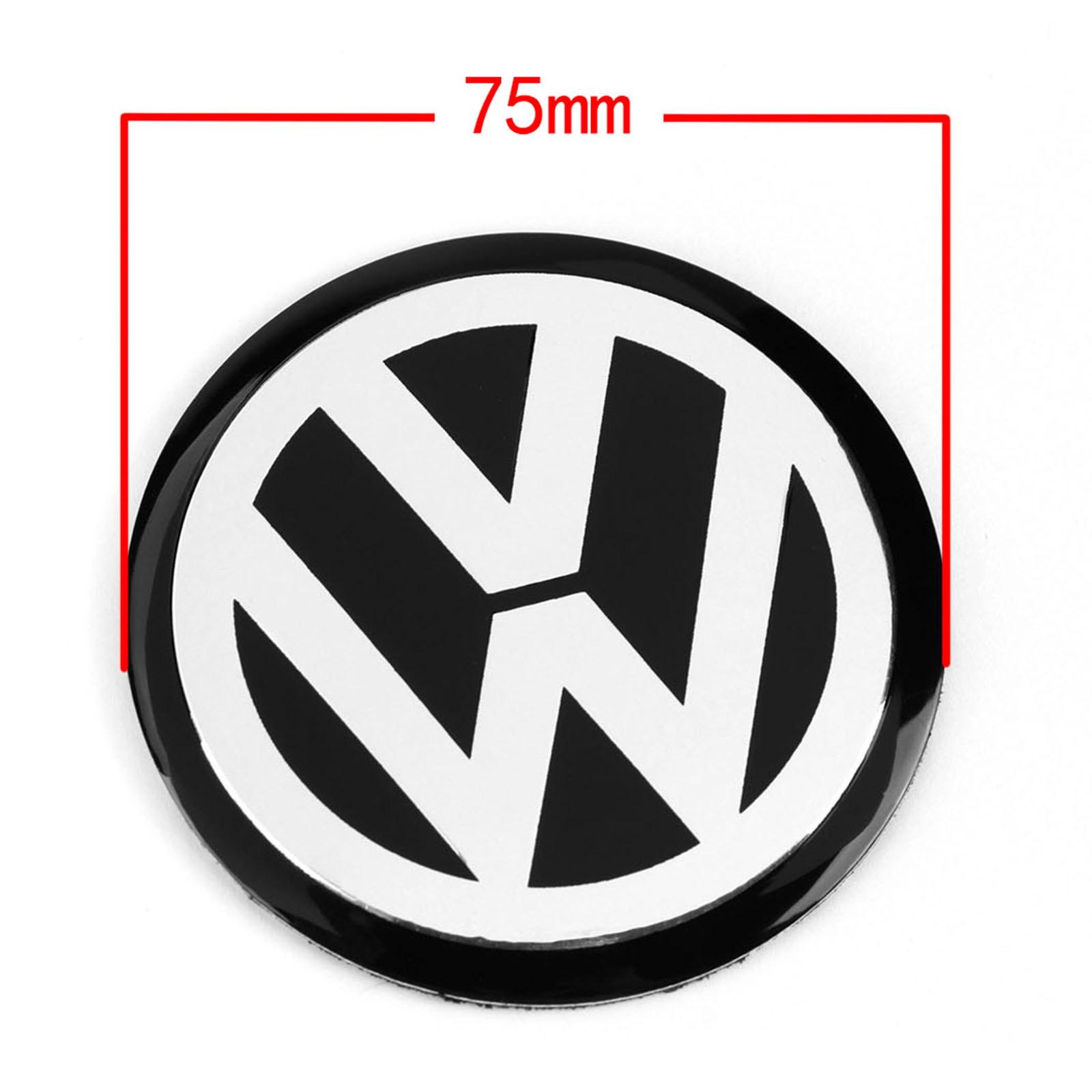 4pcs 75MM Black Car Wheel Center Hub Cap Badge Emblem Decal Wheel Sticker Styling For VW