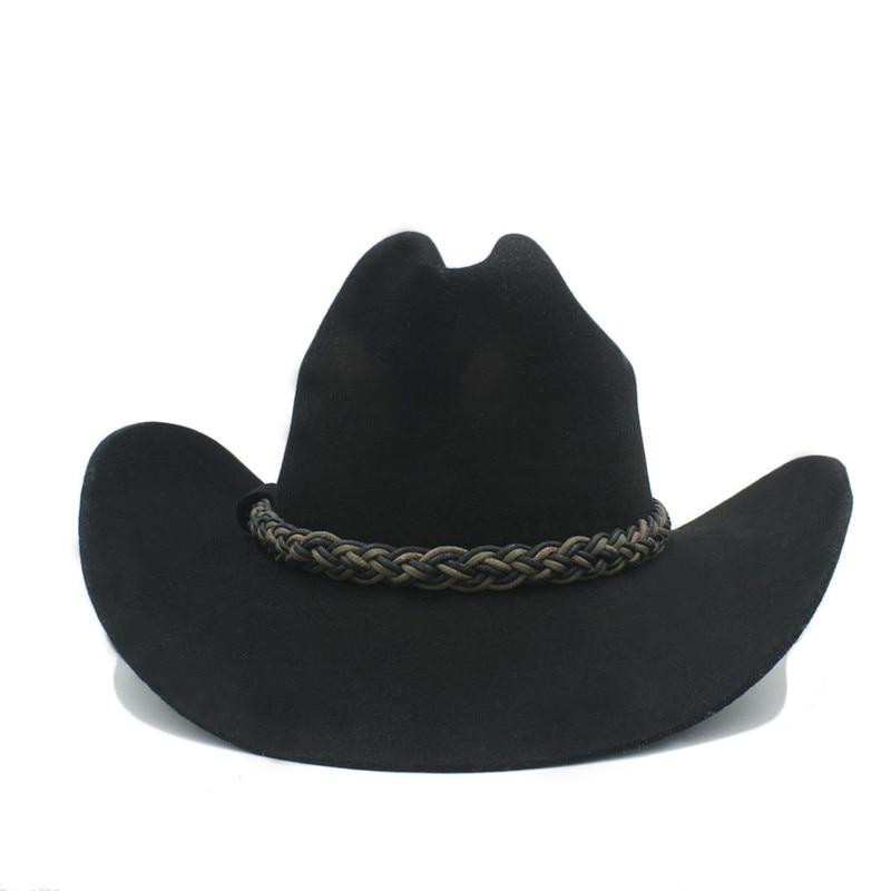 3758ab92d90 100% Australia Wool Women Men Black Western Cowboy Hat Cowgirl Jazz  Sombrero Cap-in Cowboy Hats from Apparel Accessories on Aliexpress.com