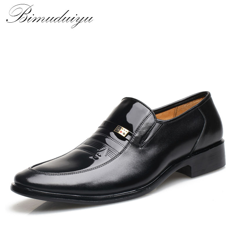 BIMUDUIYU Fashion Set Foot Men Casual Shoes For Men Black Patent PU Leather Pointed Toe Dress Shoes Male Formal Wedding Shoes bimuduiyu patent leather oxford shoes for men loafers dress shoes formal shoes pointed toe business fashion groom wedding shoes